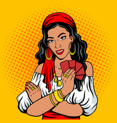 Gypsy girl fortune teller pop art style vector