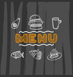 hand drawn menu for cafe with food sketch concept vector image