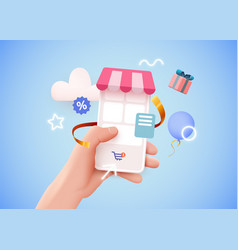 Hand holding mobile smart phone with shopp app vector