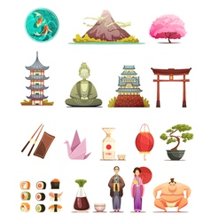 Japan Culture Retro Cartoon Icons Set vector