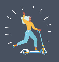 joyful woman quickly riding a kick scooter vector image