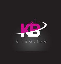 Kb k b creative letters design with white pink vector