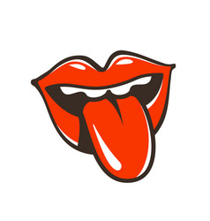 Lips mouth protruding tongue symbol or icon vector