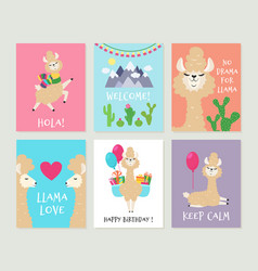 llama invitations cute alpaca birthday greeting vector image