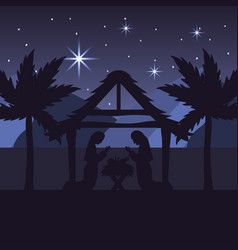 Mary and joseph with jesus in the manger and palm vector