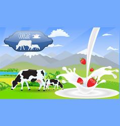 milk splash strawberry and beautiful nature vector image