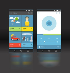 Modern smartphone player interface template vector image
