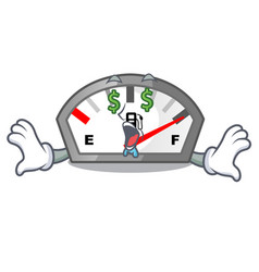 Money eye gasoline indicator in the a mascot vector