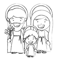 Monochrome blurred silhouette of sacred family vector