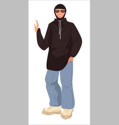 muslim woman dressed in hip hop style vector image