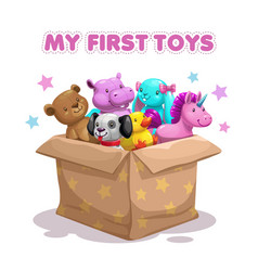 My first toy funny textile animal toys in the box vector