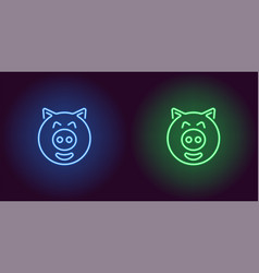 neon piglet face in blue and green color vector image