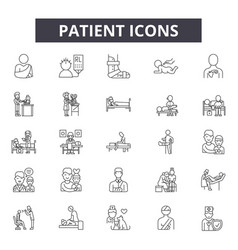 patient line icons signs set outline vector image