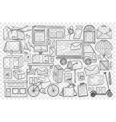 post office and sending letters doodle set vector image