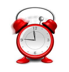 Red alarm clock close up isolated on white vector image
