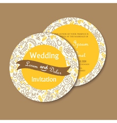 Round invitation yellow vector