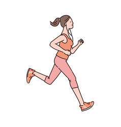 Running woman in sport clothing character sketch vector