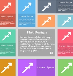 Sagittarius icon sign Set of multicolored buttons vector