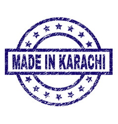 Scratched textured made in karachi stamp seal vector
