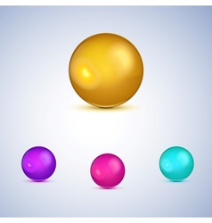 Set of colorful glossy spheres isolated on white vector