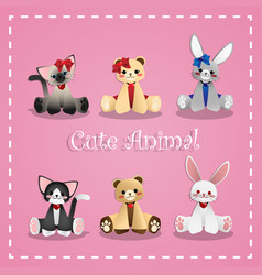 set of cute animal vector image