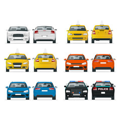Set of different types of cars yellow taxi vector
