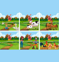 Set of farmland scene vector