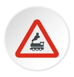 Sign railroad icon flat style vector