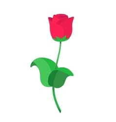 Single red roses in flat vector