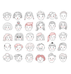 sketch people avatars female and male portraits vector image