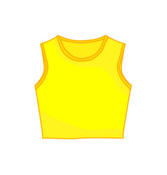 Sleeveless tanktop yellow shirt fashion style item vector