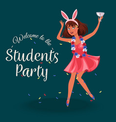 Students knees-up poster vector
