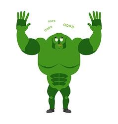 Surprised ogre says OOPS Perplexed goblin Struck vector
