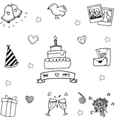 Sweet party set in doodle vector