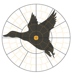 Test target with a silhouette a flying duck vector