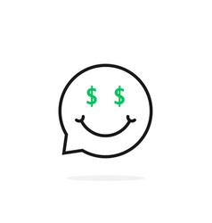 Thin line money emoji speech bubble logo vector