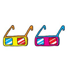 three dimensional glasses design set vector image