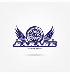 Transport logo wheel chrome disk car design vector