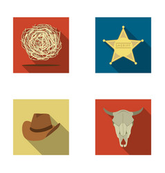 Tumbleweed sheriff s star hat bull s skull vector