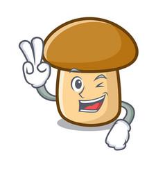 two finger porcini mushroom character cartoon vector image