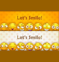 Two funny header banners funny cartoon yellow vector