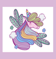 unicorn colorful hair leaves fantasy magic cartoon vector image