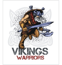 Viking norseman mascot cartoon with ax and sword vector