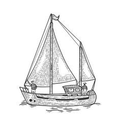 vintage sailing yacht boat sketch engraving vector image