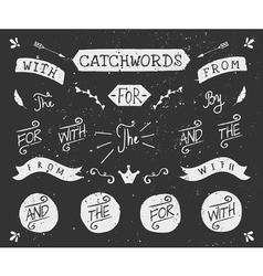 Vintage style chalkboard catchwords and elements vector