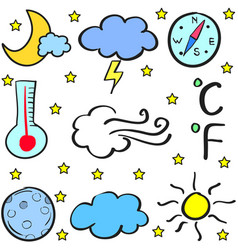 Weather theme object of doodles vector