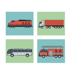 white background with square set of vehicles of vector image