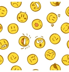 Yellow emoticon seamless pattern on white vector