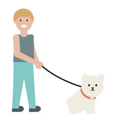 Young man with little dog adorable mascot vector