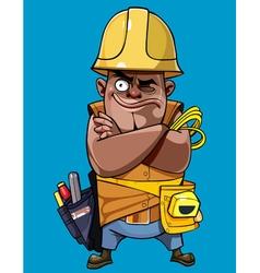 cartoon man in a helmet with tools standing vector image vector image